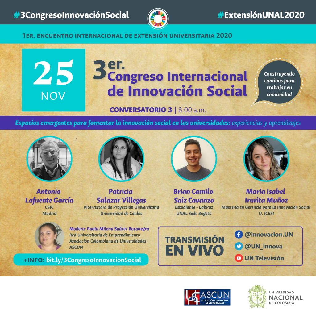 3er Congreso de Innovación Social «Espacios emergentes para fomentar la innovación social en las universidades: experiencias y aprendizaje»